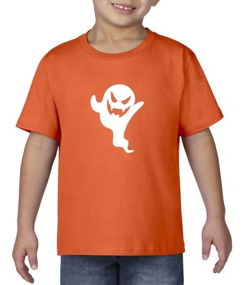 Camiseta Playera Bebe Niño Halloween Fantasmin Terror Miedo
