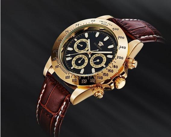 Relógio Masculino Automático Pulseira De Couro Original Luxo