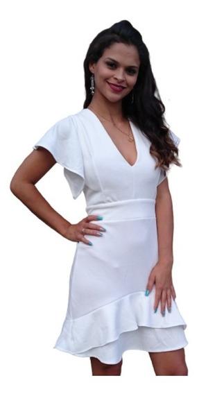 Vestido De Festa Curto Com Babado Bojo Branco Manga Sino