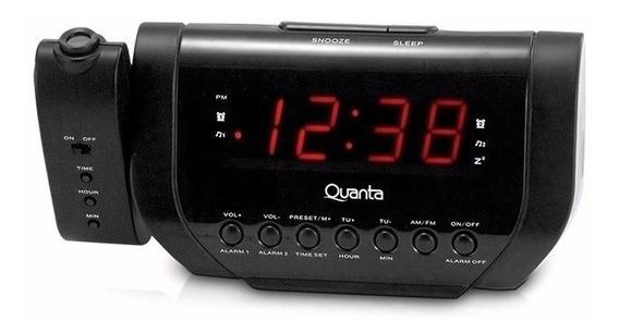 Rádio Relógio Com Projetor Quanta Qtrar1000
