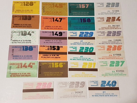Abonos De Trasporte Quincenal (df)Lote De 23 Boletos