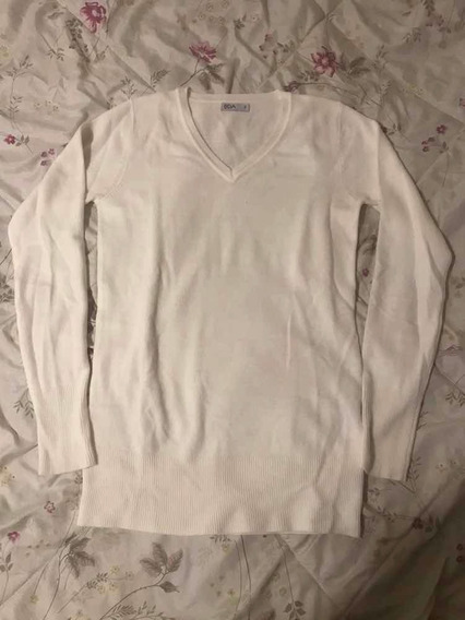 Suéter Blusa Lã Off White Básica Tamanho P Marca Bda