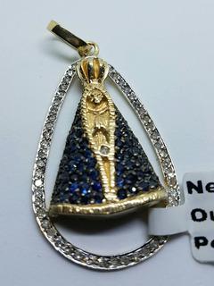 N.s.a Ouro 18k Brilhantes Verdadeiros Safira Azul 12,00g