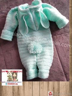 Enterito Bebe Crochet Grueso 0 A 6 Meses