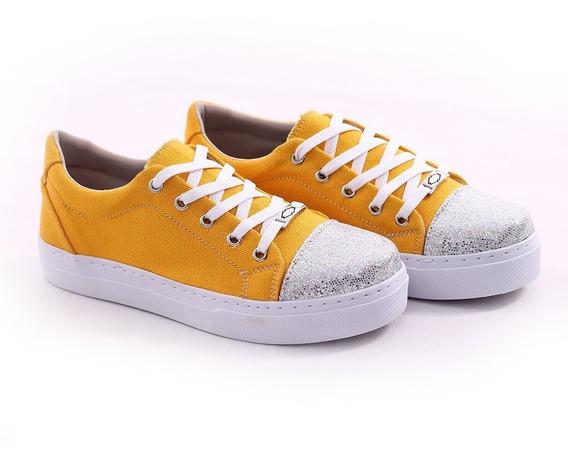 Tênis Feminino Estilo Casual Sapato Colorido Lona Glitter