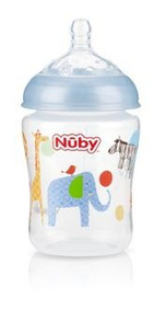 Mamadeira Nubby Natural Touch Verde Bico Largo 270ml