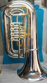Tuba Sib 4/4, 04 Rotores Prata E Dourada - Quasar Qtu708