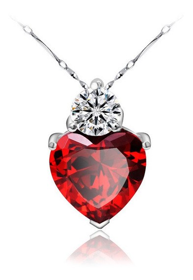 Collar Corazón Rojo De Plata 0.925 Con Zirconia - 1085