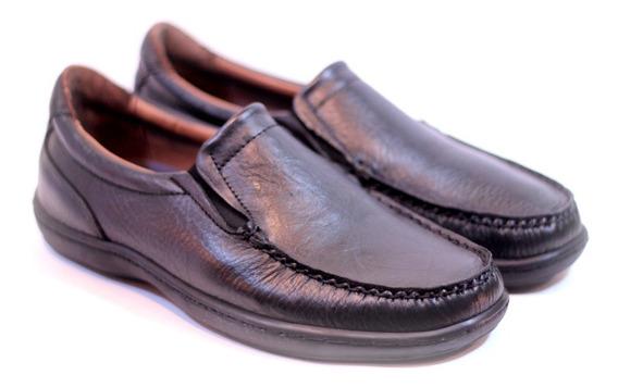 Zapatos Mocasines 354 100% De Cuero Goma Febo Negro Y Marron