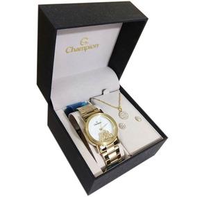 Kit Relógio Champion Feminino Ch25829e Gargantilha + Brinco
