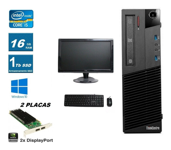 Desktop Lenovo I5 3.2ghz 16gb Ssd 1tb Nvidia + Monitor/tv 19