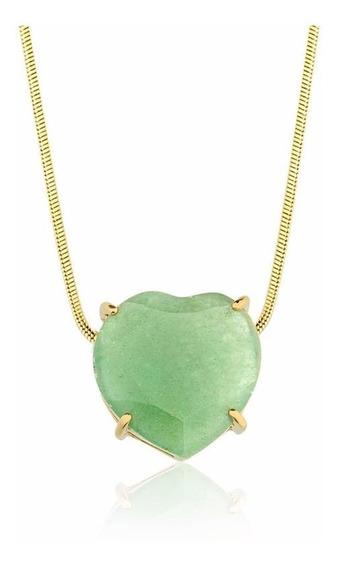 Colar Semijoia Fina Coração Pedra Natural Quartzo Verde