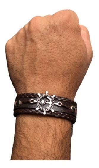 Pulseira Masculina Couro Bracelete Fecho Ajustável