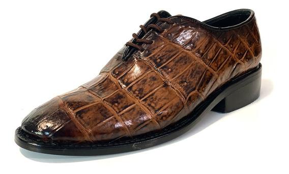 Zapato En Piel De Cocodrilo Original, Diseño Italiano