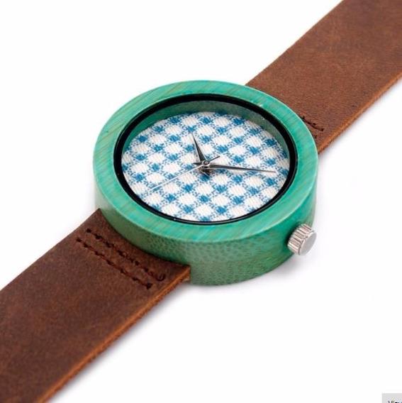 Relógio Feminino Bambu Analógico Bobo Bird Ld181 Tecido