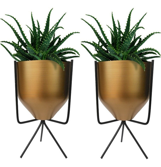 2 Vasos Cachepo Geométrico Para Suculenta Cactus Rose Gold