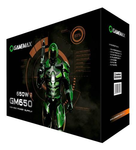 Fonte De Alimentacao Preta 650w Gamemax Gm650 80 Plus Bronze