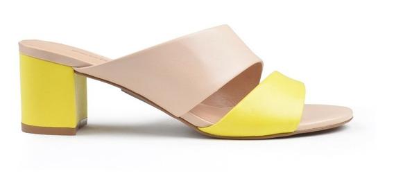 Zapatos De Mujer De Cuero Zueco Murcia Amarillo - Ferraro