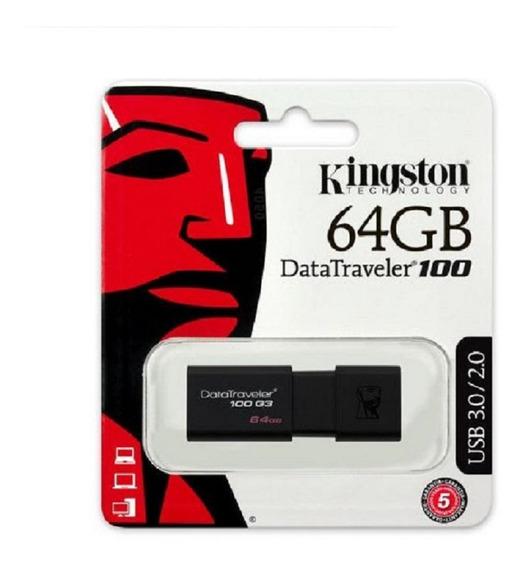 Pen Drive 64gb Kingston Dt100 G3 Usb 3.0 100% Original