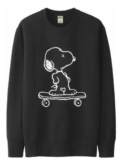 Sudadera Sweatshirt Kaws X Peanuts Snoopy Negra Original