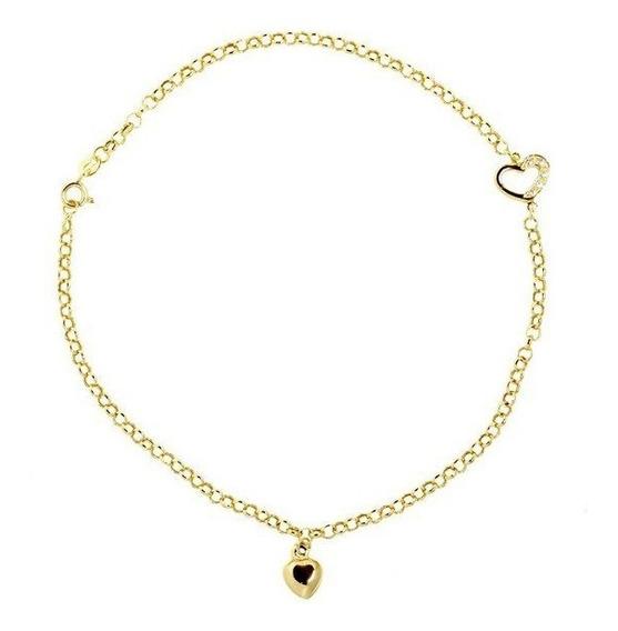 Tornozeleira Coração Ouro 18k Zircônias - Cod 16871
