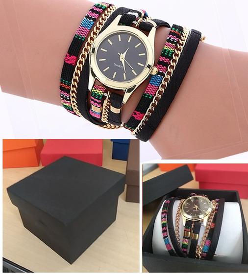 Pulseira Fashion Preta Com Relógio Quartz + Caixinha Mdf
