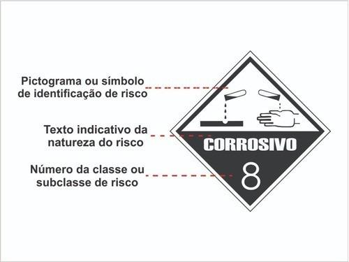 Cartela De Adesivo Transporte De Risco Perigoso Corrosivo 8