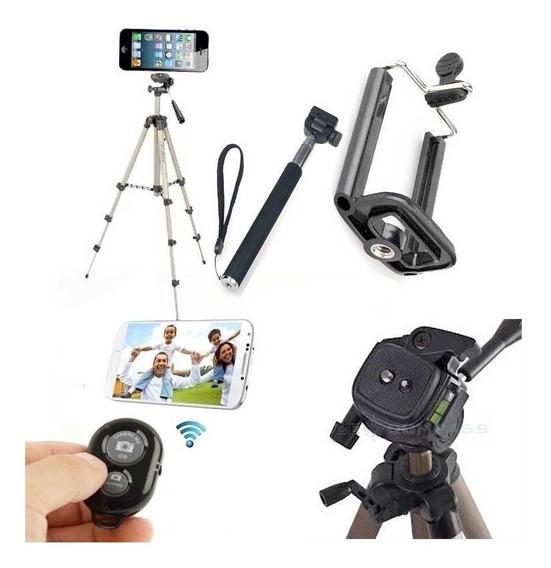 Tripé 65cm Adaptador Celular Control Bluetooth Bastao Selfie