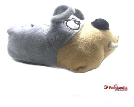 Pantuflas Animales Nene Nena Gummi Infantiles Perritos Gris N°28/33