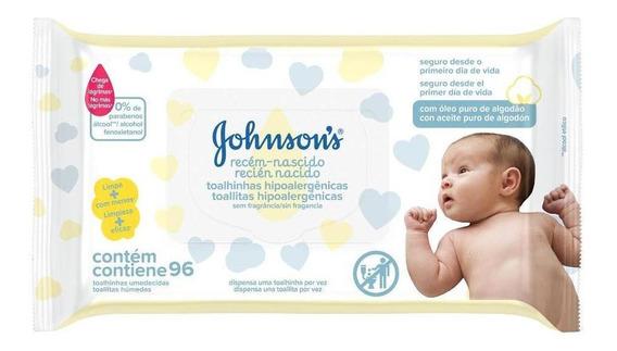 Toalha Hipoalergênica Recém Nascido, Johnsons, 96 Unidades