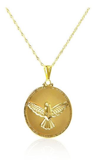 Pingente Medalha Espirito Santo Banhado Com Ouro 18k