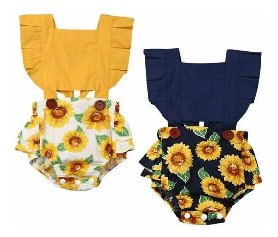 Ropa Casual Moda Para Bebe Niña Pañalero Estampado Girasoles
