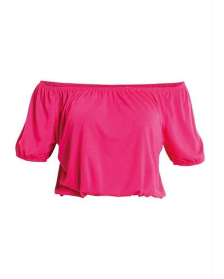 Blusa Cropped Ombro A Ombro Ciganinha Pink Preta Verão