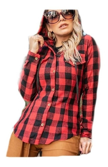 Camisa Blusa Feminina C/ Capuz Xadrez