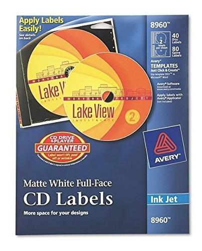 Etiquetas Avery Para Cd, Blanco Mate, 40 Etiquetas Para Cd Y