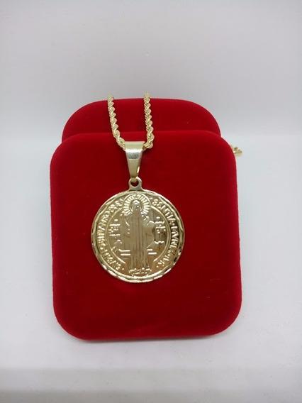 Corrente Cordão Com Medalha Do Santo São Bento Banhada Ouro