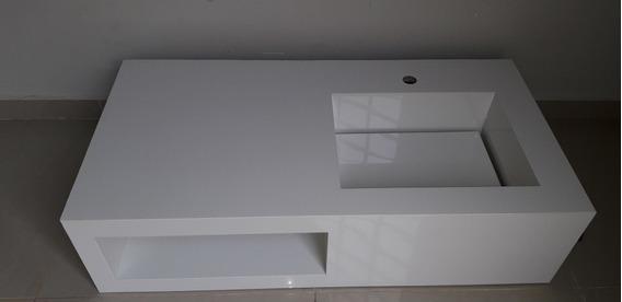 Pia Em Porcelanato Com Porta Toalha 1,00x50