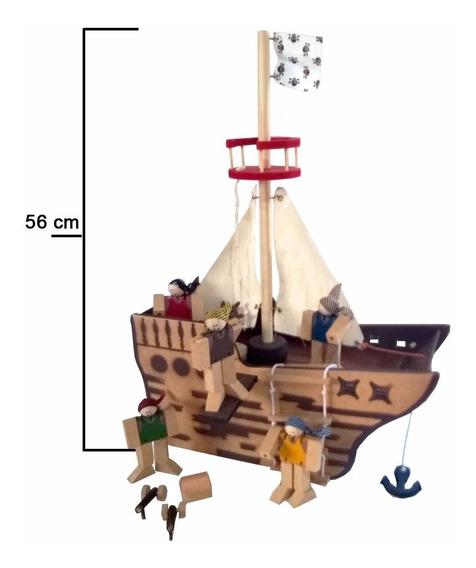 Barco Navio Pirata De Madeira - 16 Peças Brinquedo Educativo