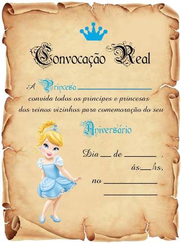 Imagem 1 de 1 de Festa Cinderela Baby Convite Aniversário Pergaminho C/30