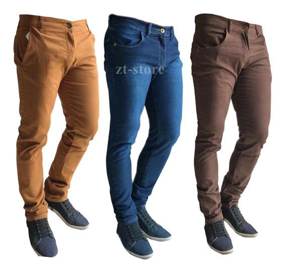 Kit 3 Calça Jeans Sarja Masculina Skinny Slim Lycra + Cores