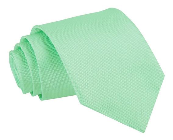 Corbata Tono Verde Menta - Textura Microcuadros Calidad