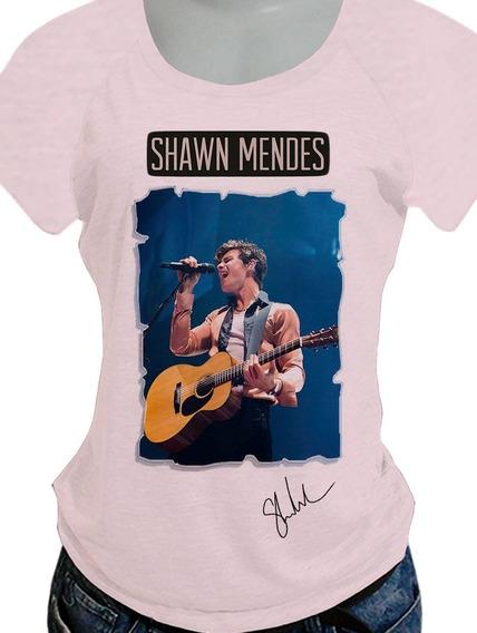 Camiseta Babylook Shawn Mendes Opcoes De Costas Blusa732