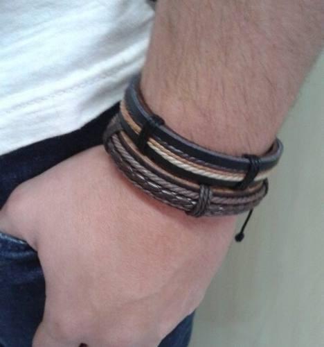 Pulseira Bracelete Masculina Tribal Couro