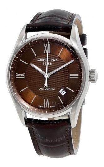 Relógio Masculino Automático Certina Ds1 Marrom/couro/cinza