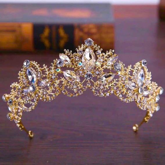 Tiara Corona Dorado Intensso Para Novia O Xv