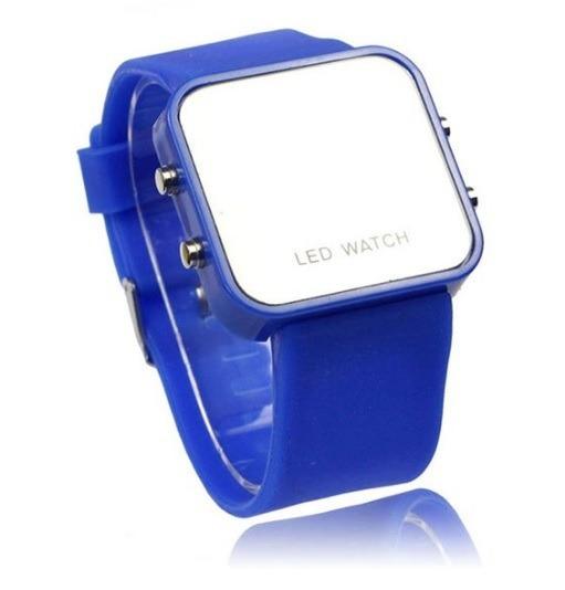 Relógio Feminino Digital Led Vermelho Pulseira De Silicone