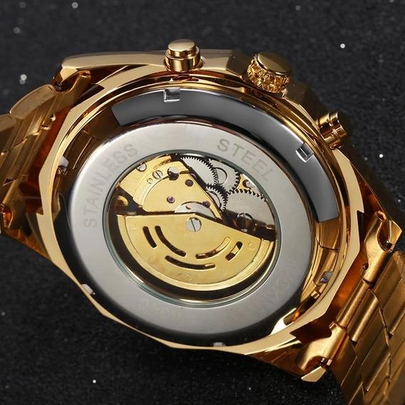 Relogio Dourado Skeleton Automatico Original,importado