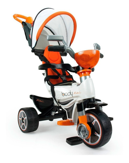 Triciclo Montable Paseo Body Sport Blanco Capucha Injusa