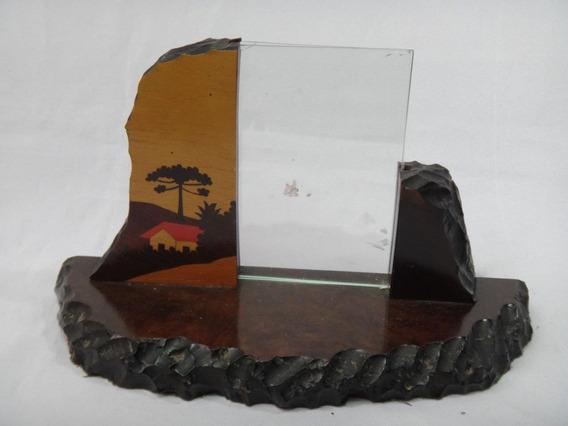 Antigo Porta Retrato De Madeira Com Marchetaria Do Paraná