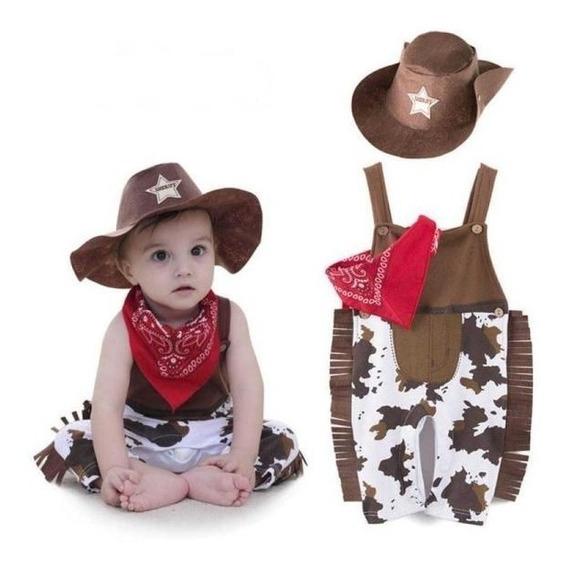 Fantasia Infantil Cowboy Fazendinha: Jardineira Lenço Chapéu